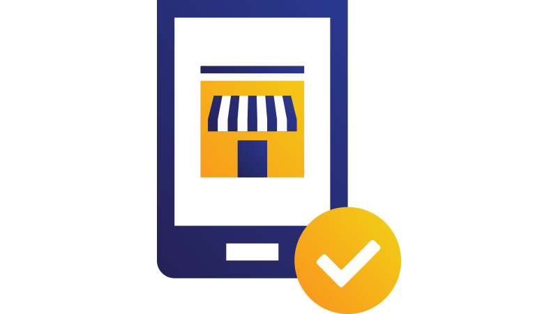 Illustration: tablet displaying small business store with checkmark.